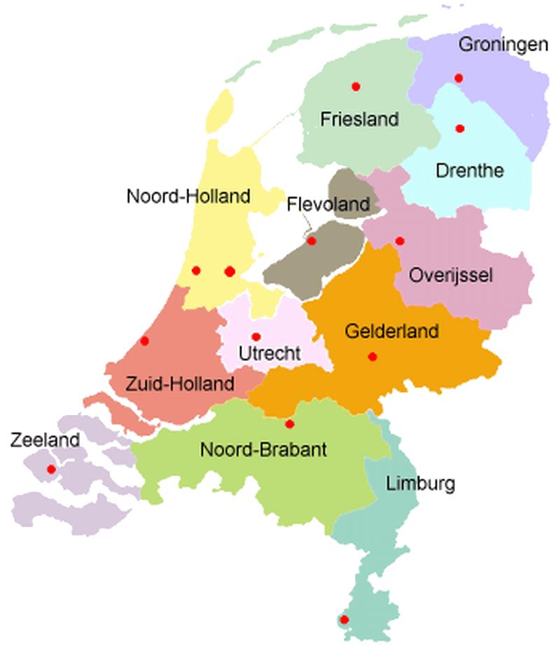 vestigingen nederland in provincies